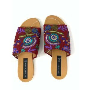 Steve Madden Flats Sandal Red Floral Embroidery 37